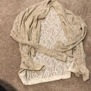 Shiny gold and lace cardigan